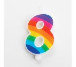 """Žvakutė """"8"""", vaivorykštės spalvų spragsinti"""