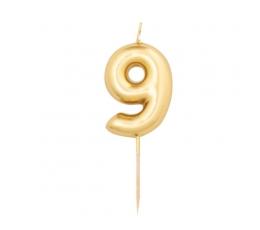 """Žvakutė """"9"""", auksinė (8 cm)"""
