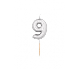 """Žvakutė """"9"""", sidabrinė (8 cm)"""