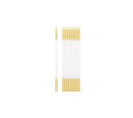 Žvakutės, baltos-auksinės (10 vnt./15 cm)