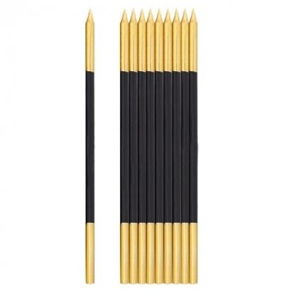 Žvakutės, juodos-auksinės  (10 vnt./15 cm)