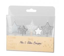 """Žvakutės-smeigtukai """"Žvaigždutės"""", sidabrinės (5 vnt./7 cm)"""