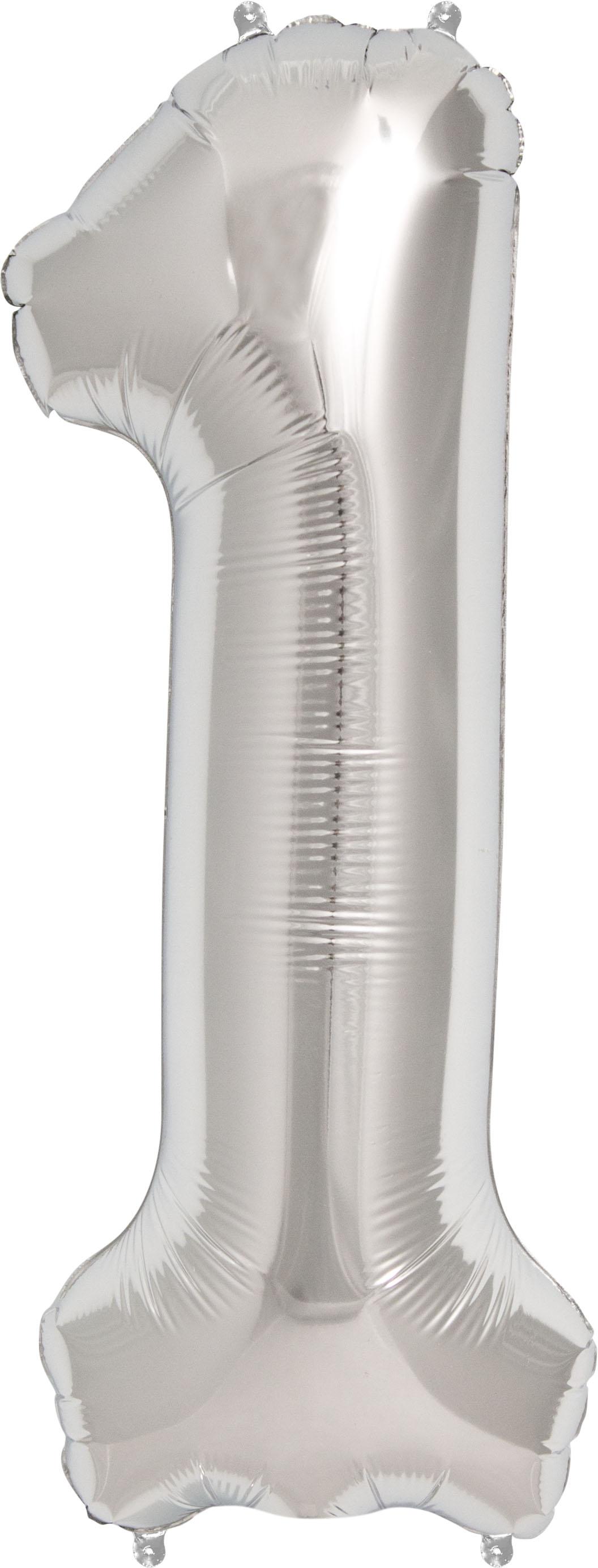"""Folinis balionas """"1"""", sidabrinis (85 cm)"""