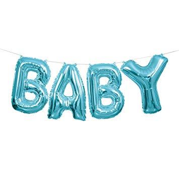 """Folinių balionų rinkinys """"Baby"""", žydras (35 cm)"""