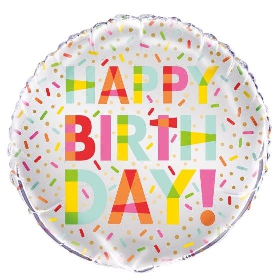 """Folinis balionas """"Pabarstukai.Su gimimo diena"""" (45 cm)"""
