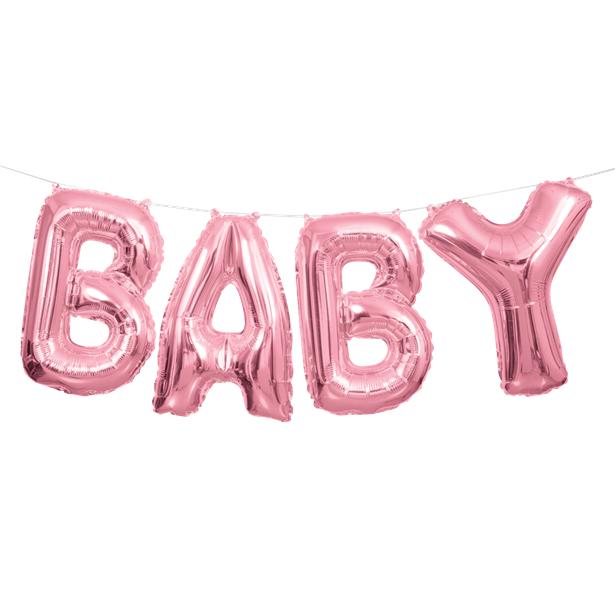 """Folinių balionų rinkinys """"Baby"""", rožinis (35 cm)"""