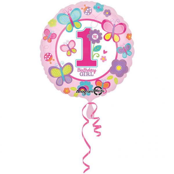 """Folinis balionas """"Drugeliai.1-asis gimtadienis"""" (45 cm)"""
