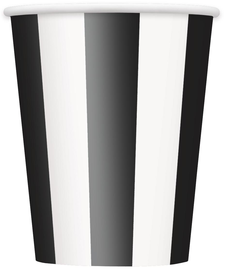 Puodeliai, juodai dryžuoti (8 vnt./355 ml)