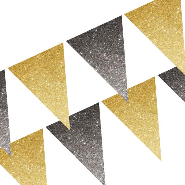 Vėliavėlių girlianda, juodai-auksinė blizgi (3 m)