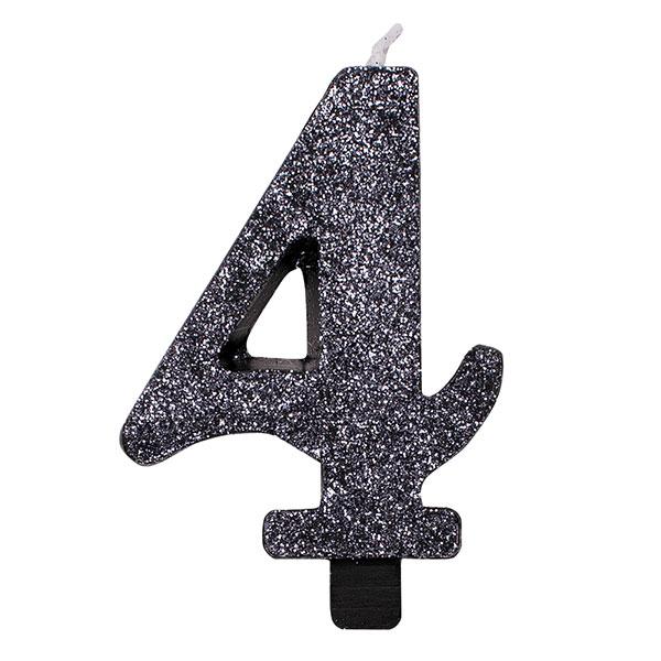 """Žvakutė """"4"""", juoda blizgi"""