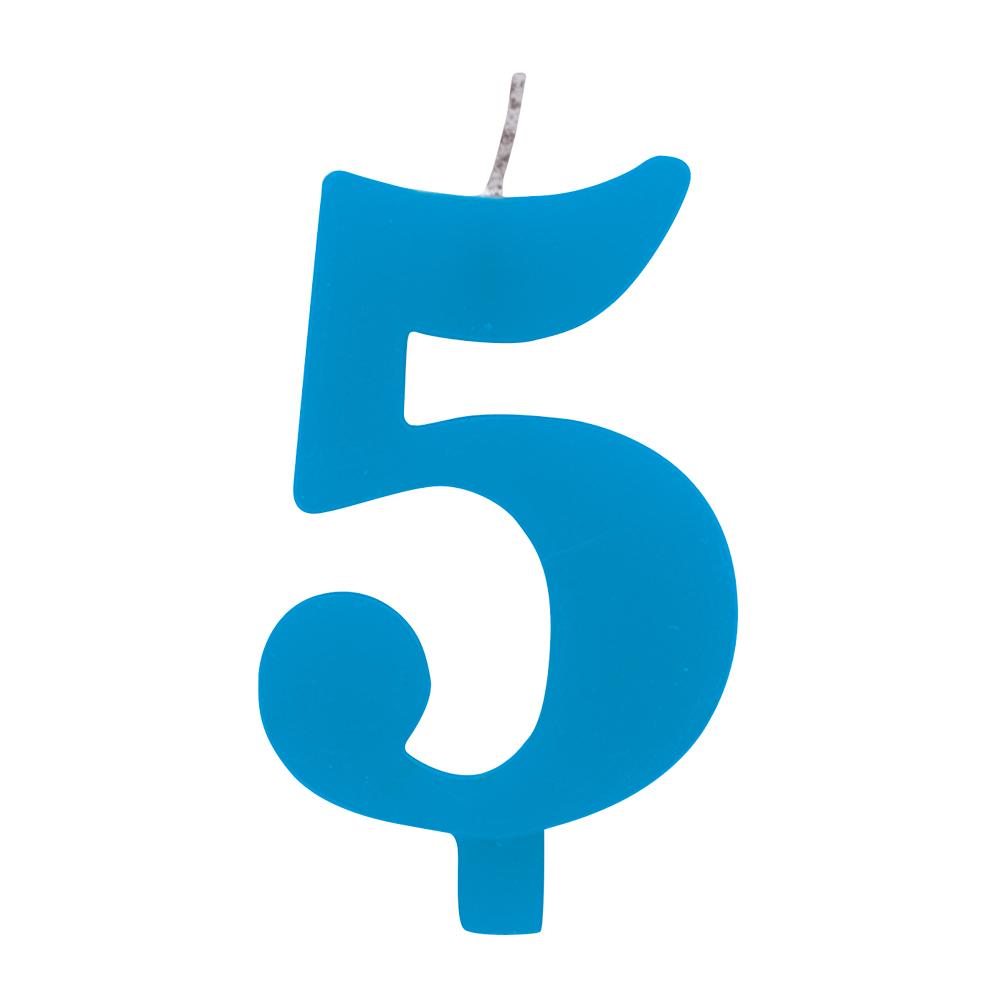 """Žvakutė """"5"""", mėlyna spragsinti"""