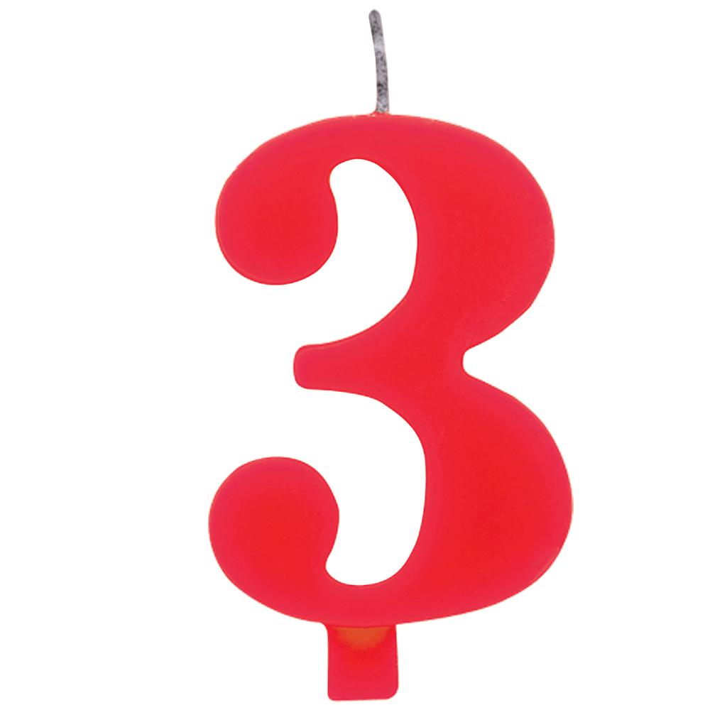 """Žvakutė """"3"""", raudona spragsinti"""