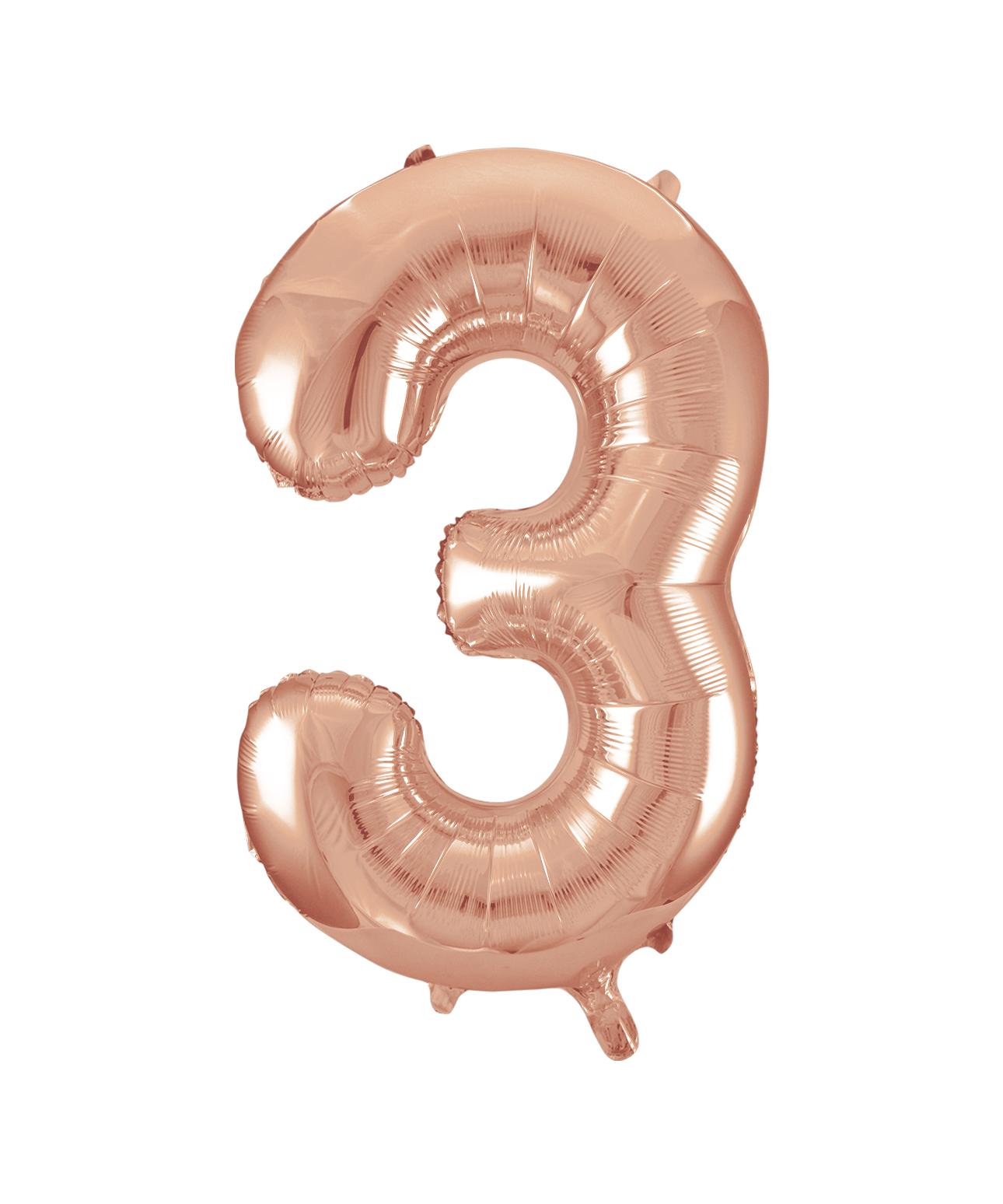 """Folinis balionas-skaičius """"3"""", rožinis auksas (85 cm)"""