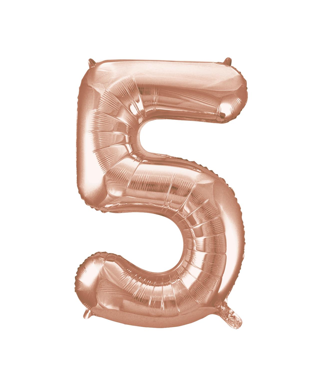 """Folinis balionas-skaičius """"5"""", rožinis auksas (85 cm)"""