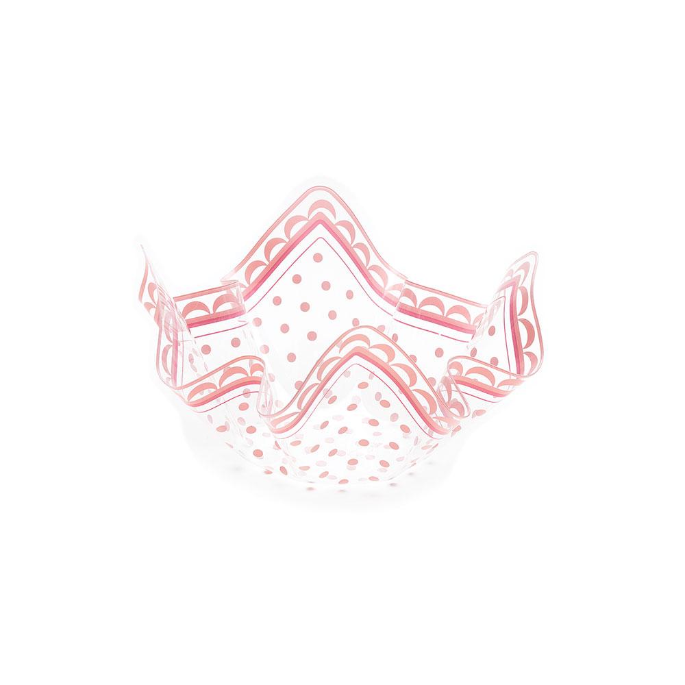 Plastikinis dubenėlis, rausvai taškuotas (13x7cm)