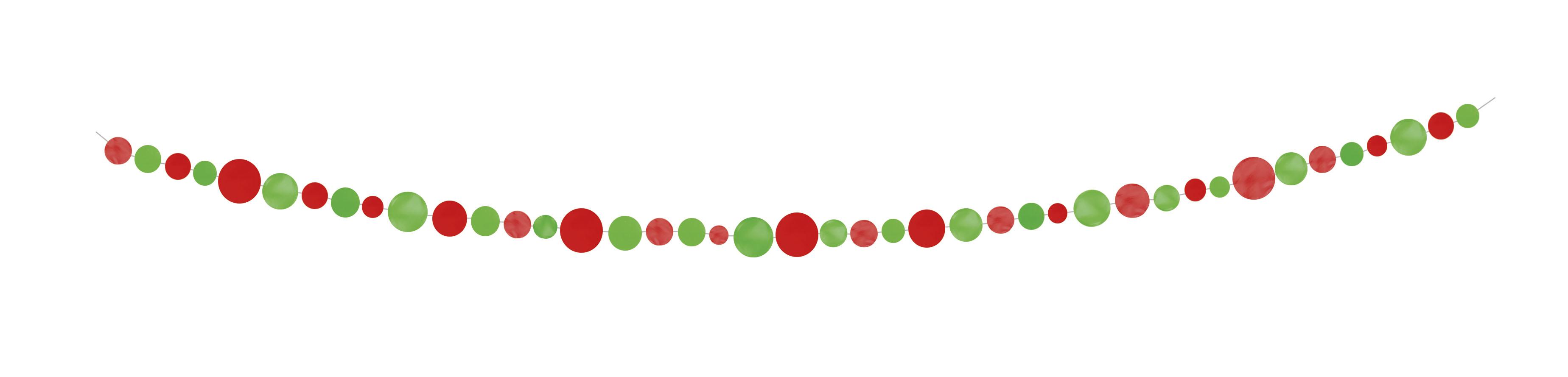 Girlianda, raudoni-salotiniai apskritimai (2,74 m)