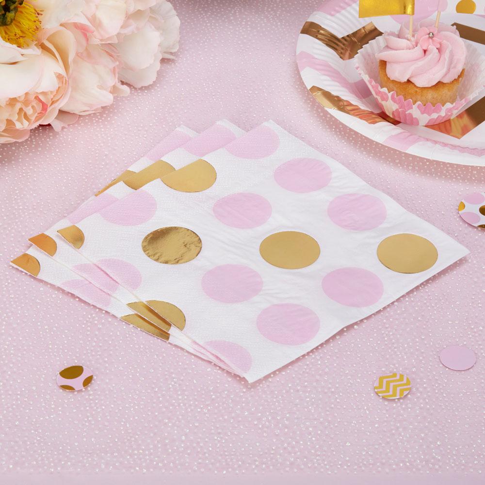 Servetėlės, rožiniai auksiniai burbulai (16 vnt.)