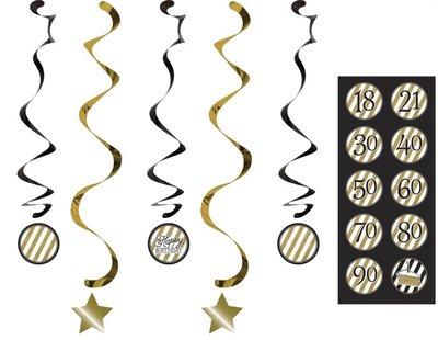 Kabančios dekoracijos, juodai auksinės su lipdukais-skaičiais (5 vnt.)