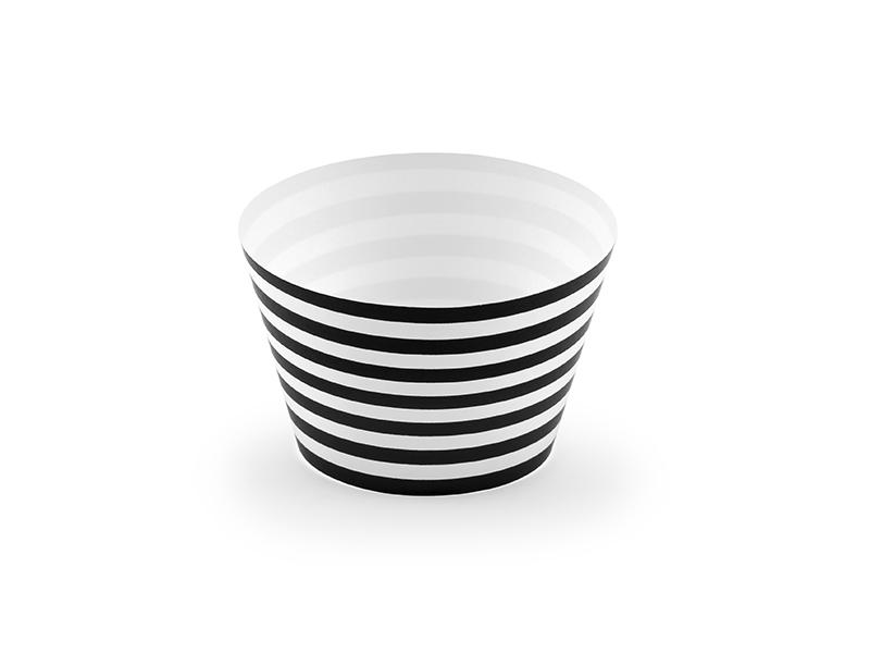 Keksiukų dekoracijos, juodai baltai dryžuotos (6 vnt.)