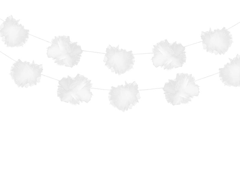 Tiulio puručių girliandos, baltos (3 vnt./2 m)