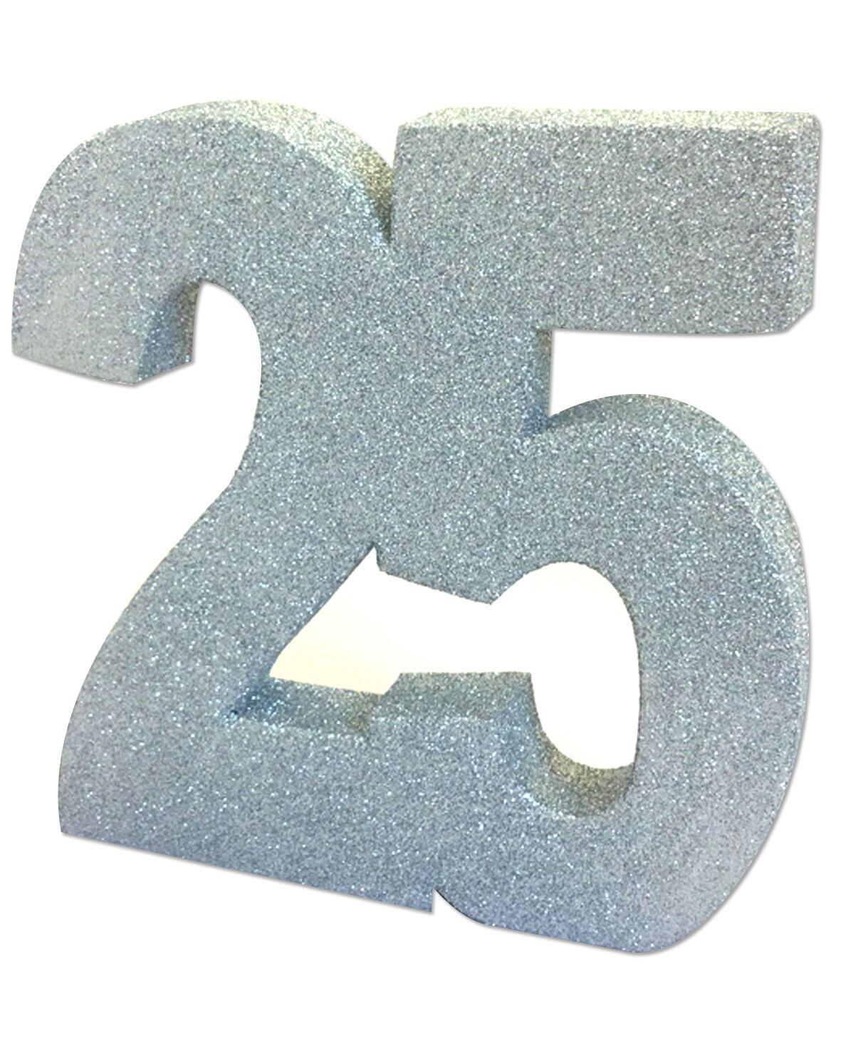 "Stalo dekoracija, sidabrinė ""25"" (20 cm)"