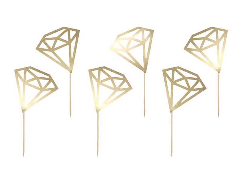 """Smeigtukai-dekoracijos  """"Auksiniai deimantai"""" (6 vnt.)"""