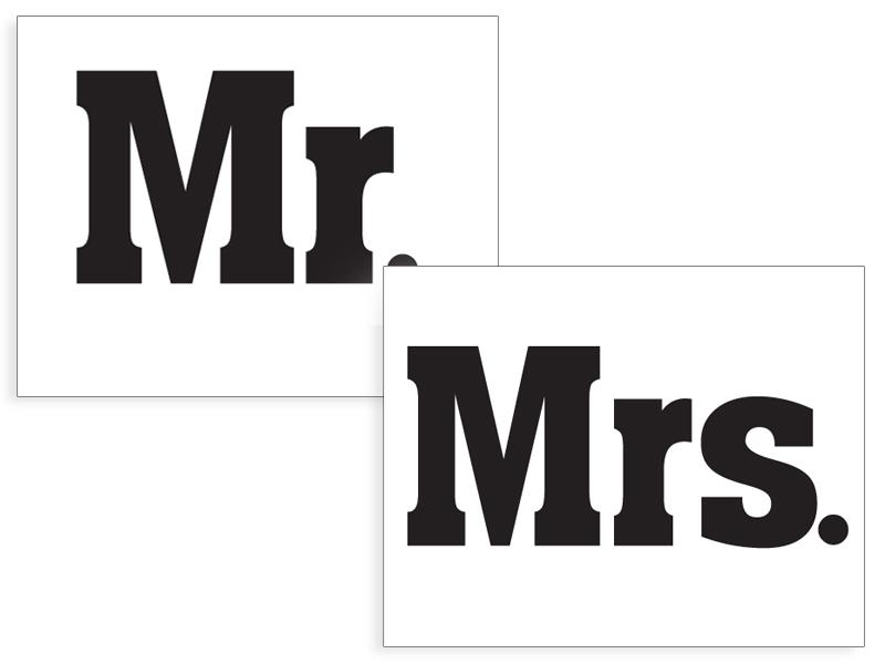 """Lipdukai batams """"Mr & Mrs"""" (2 vnt.)"""