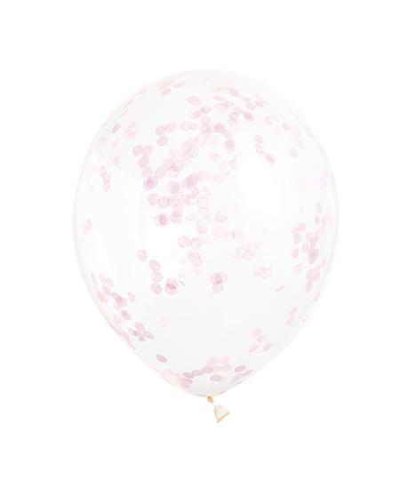 Balionai, skaidrūs su rausvais konfeti (6 vnt./30 cm)