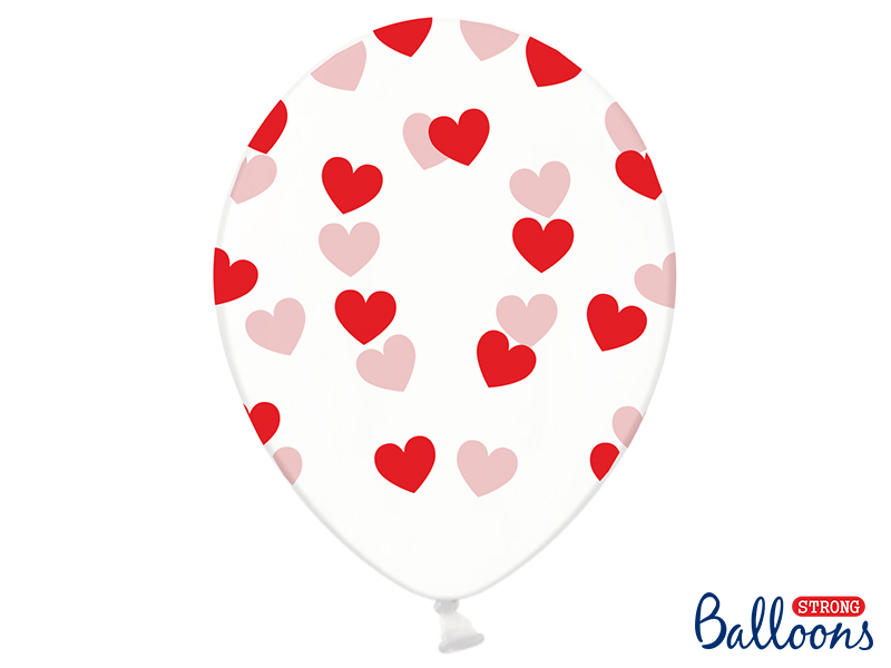 Balionai, skaidrūs su raudonomis širdelėmis (6 vnt./30 cm)