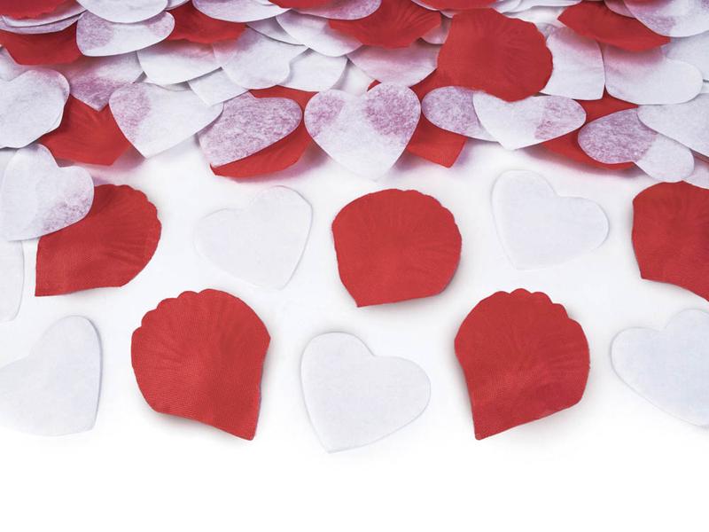 Konfeti patranka, širdelės ir žiedlapiai (50 cm)