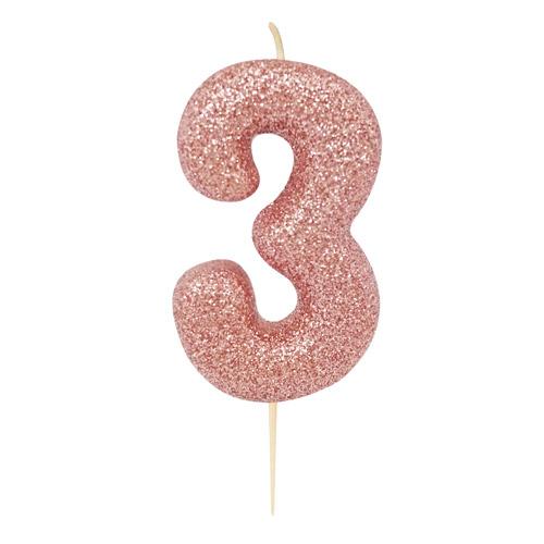 """Žvakutė """"3"""", rožinio aukso spalvos"""