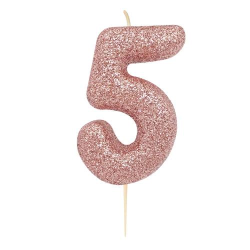 """Žvakutė """"5"""", rožinio aukso spalvos"""