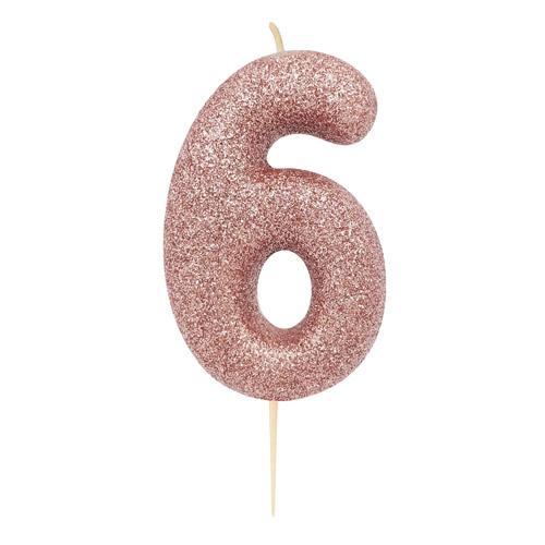 """Žvakutė """"6"""", rožinio aukso spalvos"""