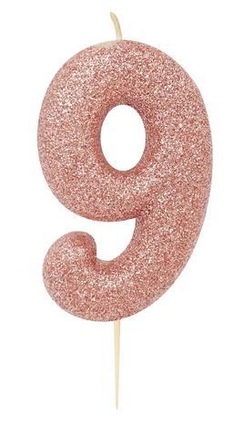 """Žvakutė """"9"""", rožinio aukso spalvos"""