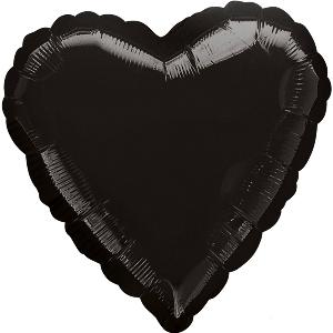 Folinis balionas-širdis, juodas (43 cm)