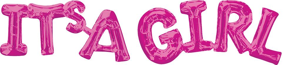 """Folinis balionas-užrašas """"Its'a girl"""", rožinis (100 x 22 cm)"""