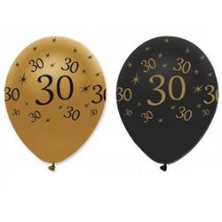 "Balionai ""30"", juodi-auksiniai (6 vnt.)"