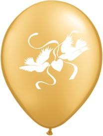 """Balionai """"Auksiniai balandžiai"""" (10 vnt./28 cm.)"""