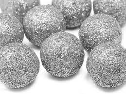 Burbulai-dekoracijos, sidabriniai (9 vnt./3 cm)