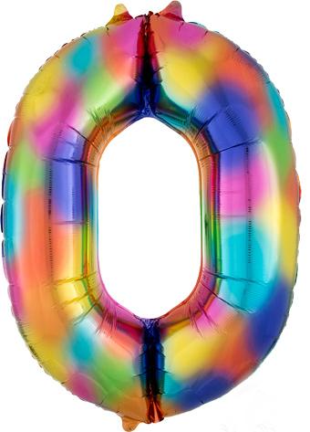 """Folinis balionas """"0"""", vaivorykštės spalvų  (88 cm)"""