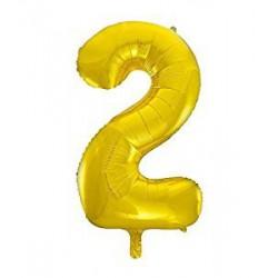 "Folinis balionas ""2"", auksinis (85 cm)"