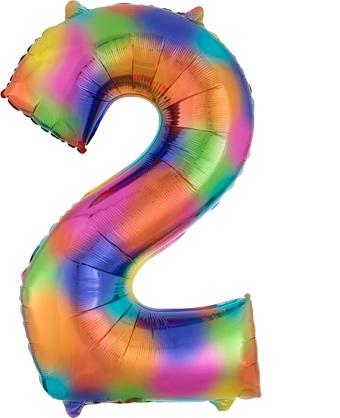 """Folinis balionas """"2"""", vaivorykštės spalvų  (83 cm)"""