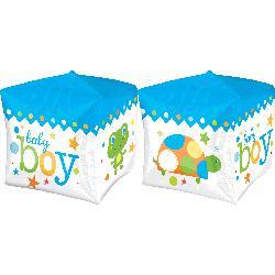 "Folinis balionas-kubas ""Baby boy"", žydras (38 cm)"