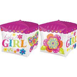 """Folinis balionas-kubas """"Baby girl"""", rožinis (38 cm)"""