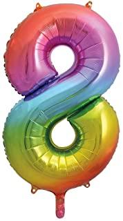 """Folinis balionas-skaičius """"8"""", įvairiaspalvis pastelinis (86 cm)"""