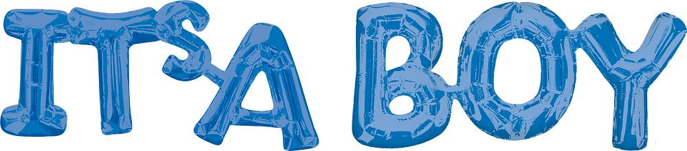 "Folinis balionas-užrašas ""Its'a boy"", mėlynas (100 x 22 cm)"