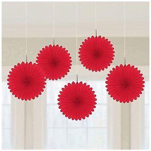 Kabančios dekoracijos-vėduoklės, raudonos (5 vnt.)