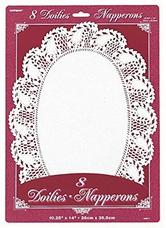 Servetėlės-padėkliukai, balti ovalūs (8 vnt./35 cm)