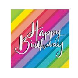 "Servetėlės ""Vaivorykštė.Happy Birthday"" (16 vnt.)"