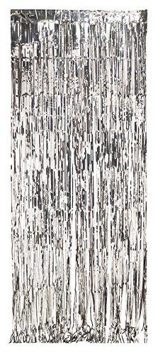 Sidabro folijos užuolaida (243 x 91 cm)